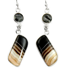 18.39cts natural black botswana agate 925 sterling silver dangle earrings r26022