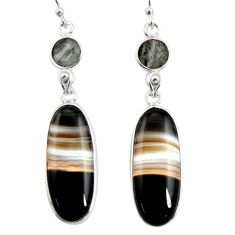 21.50cts natural black botswana agate 925 sterling silver dangle earrings r26023