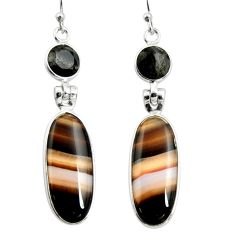 17.35cts natural black botswana agate 925 sterling silver dangle earrings r26025