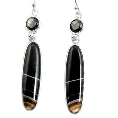 22.14cts natural black botswana agate 925 sterling silver dangle earrings r26026