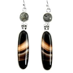 22.23cts natural black botswana agate 925 sterling silver dangle earrings r26027