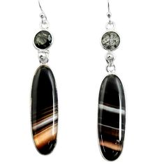 22.66cts natural black botswana agate 925 sterling silver dangle earrings r26029