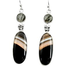 19.73cts natural black botswana agate 925 sterling silver dangle earrings r26031