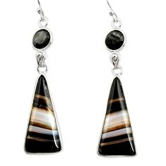 17.17cts natural black botswana agate 925 sterling silver dangle earrings r26033
