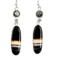 20.40cts natural black botswana agate 925 sterling silver dangle earrings r26034