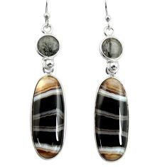 22.14cts natural black botswana agate 925 sterling silver dangle earrings r26039