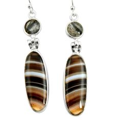 17.78cts natural black botswana agate 925 sterling silver dangle earrings r26040
