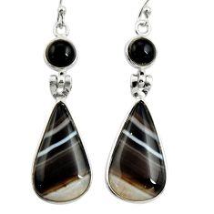 18.39cts natural black botswana agate onyx 925 silver dangle earrings r26030