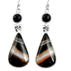 22.81cts natural black botswana agate onyx 925 silver dangle earrings r26036