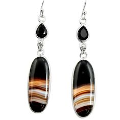 19.09cts natural black botswana agate onyx 925 silver dangle earrings r26037