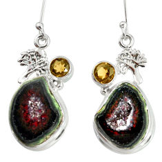 Clearance Sale- 18.94cts natural black geode druzy 925 silver tree of life earrings d40313
