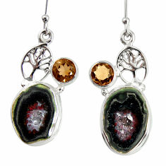 Clearance Sale- 16.87cts natural black geode druzy 925 silver tree of life earrings d40318