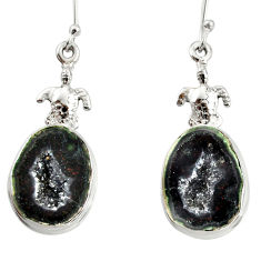 16.87cts natural black geode druzy 925 sterling silver tortoise earrings d40309