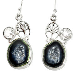 Clearance Sale- 18.94cts natural black geode druzy topaz 925 silver tree of life earrings d40310