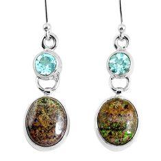 10.76cts natural black honduran matrix opal 925 silver dangle earrings r76142