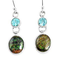 10.23cts natural black honduran matrix opal 925 silver dangle earrings r76145