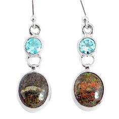 10.19cts natural black honduran matrix opal 925 silver dangle earrings r76146