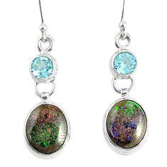 9.83cts natural black honduran matrix opal 925 silver dangle earrings r76147