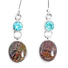 11.07cts natural black honduran matrix opal 925 silver dangle earrings r76149