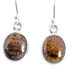 7.68cts natural black honduran matrix opal 925 silver dangle earrings r76151