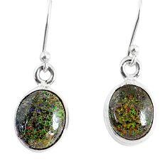 6.67cts natural black honduran matrix opal 925 silver dangle earrings r76153