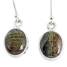 7.66cts natural black honduran matrix opal 925 silver dangle earrings r76155