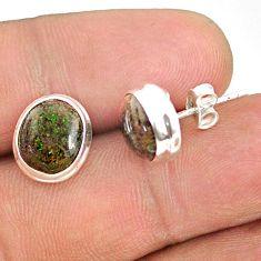 7.55cts natural black honduran matrix opal 925 silver stud earrings r76101