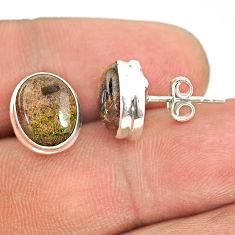 7.65cts natural black honduran matrix opal 925 silver stud earrings r76106