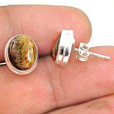 7.72cts natural black honduran matrix opal 925 silver stud earrings r76109