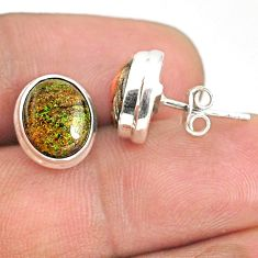 7.18cts natural black honduran matrix opal 925 silver stud earrings r76110