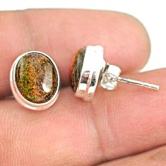 7.60cts natural black honduran matrix opal 925 silver stud earrings r76112