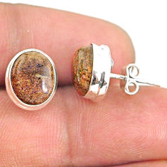 8.15cts natural black honduran matrix opal 925 silver stud earrings r76119