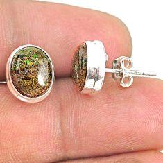 7.57cts natural black honduran matrix opal 925 silver stud earrings r76120