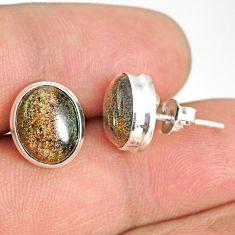 7.55cts natural black honduran matrix opal 925 silver stud earrings r76121