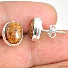 8.18cts natural black honduran matrix opal 925 silver stud earrings r76122