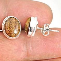 7.18cts natural black honduran matrix opal 925 silver stud earrings r76126