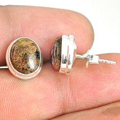 7.57cts natural black honduran matrix opal 925 silver stud earrings r76127