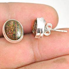 7.65cts natural black honduran matrix opal 925 silver stud earrings r76131