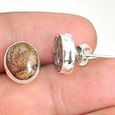 7.57cts natural black honduran matrix opal 925 silver stud earrings r76133