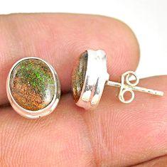 7.67cts natural black honduran matrix opal 925 silver stud earrings r76134
