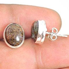 8.20cts natural black honduran matrix opal 925 silver stud earrings r76135