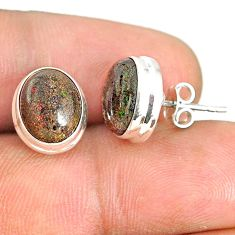 8.07cts natural black honduran matrix opal 925 silver stud earrings r76137