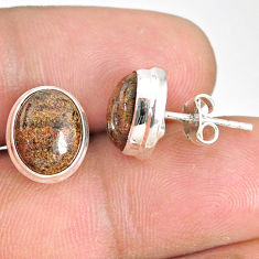 8.22cts natural black honduran matrix opal 925 silver stud earrings r76138