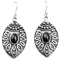 3.29cts natural black obsidian eye 925 sterling silver dangle earrings r38068