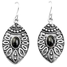 3.44cts natural black obsidian eye 925 sterling silver dangle earrings r38070