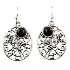 2.41cts natural black obsidian eye 925 sterling silver dangle earrings r38094
