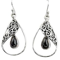 4.92cts natural black obsidian eye 925 sterling silver dangle earrings r38121