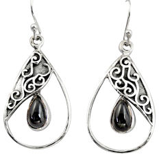 4.69cts natural black obsidian eye 925 sterling silver dangle earrings r38122