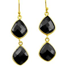 15.25cts natural black onyx 925 sterling silver 14k gold dangle earrings r32457