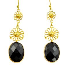 12.38cts natural black onyx 925 sterling silver 14k gold dangle earrings r32509